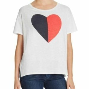 NWT SUNDRY white black red heart graphic tee